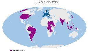 Kort med de handelsaftaler, EU er i gang med at forhandle.