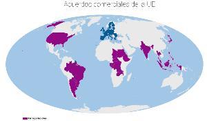 Mapa ilustrativo de los acuerdo comerciales de la UE en negociaciones.