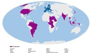 Mapa com os países com os quais a UE se encontra a negociar acordos comerciais