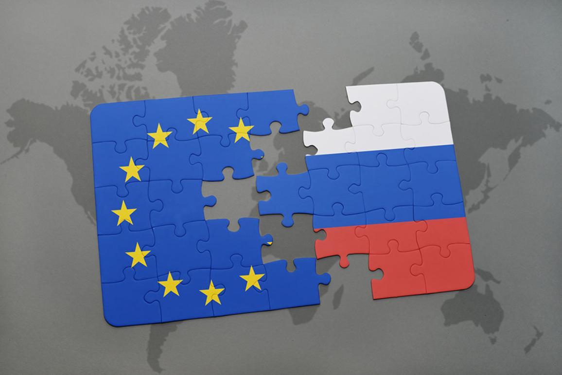 Montage avec un drapeau de l'UE et de la Russie