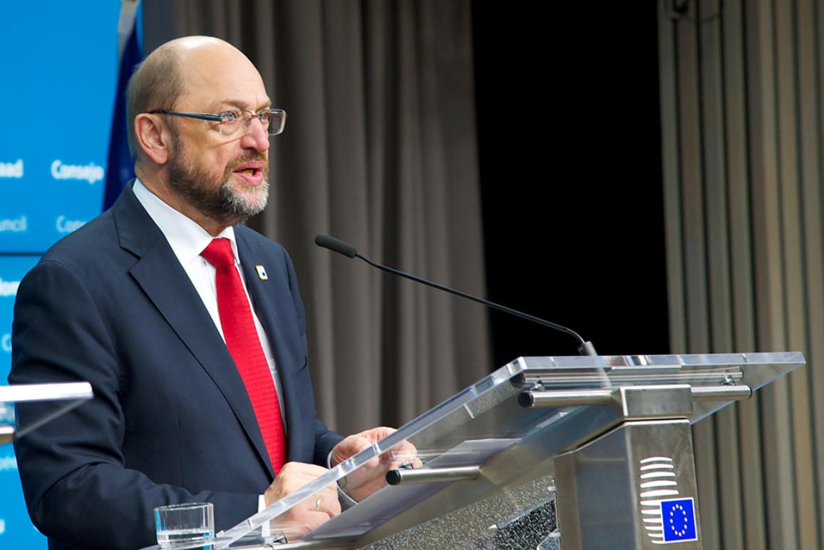 European Parliament President Martin Schulz is pictured during the press conference at the European Council