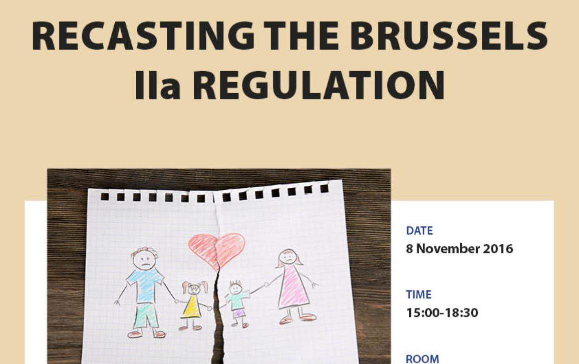 parliament's logo on the dark blue background on the top of the poster; white/beige background for the rest of the poster; a child's drawing of a family, the paper is torn