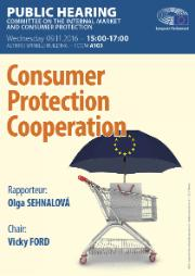 poster for the IMCO hearing on Consumer Protection Cooperation