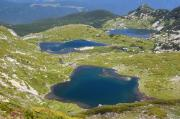 Aerial view of the Twin and the Fish lakes in the Seven Rila Lakes National park in Bulgaria