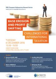 """Poster for an event on """"base erosion and profit shifting: challenges for international taxation"""", which will take place on Tuesday 6 December at 13:30 in the Library Reading Room of the European Parliament."""
