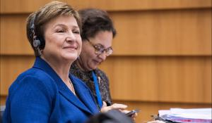 Kristalina Georgieva, commissioner for Budget & Human Resources, smiles during the Budget 217 debatøje, this will be her last appearance in Plenary before taking up the duty as CEO of the World Bank.