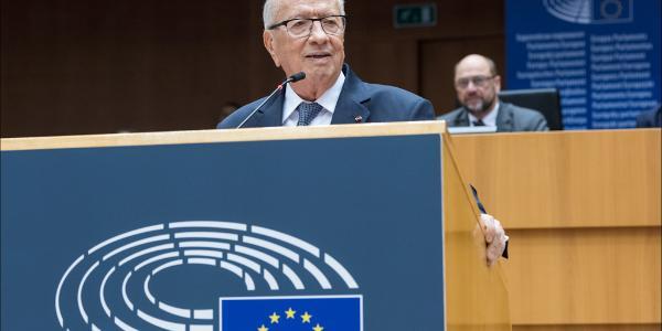Il presidente tunisino Mohamed Beji Caid Essebsi durante il suo discorso all'assemblea