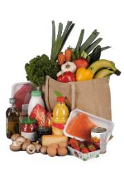 Bag with food products