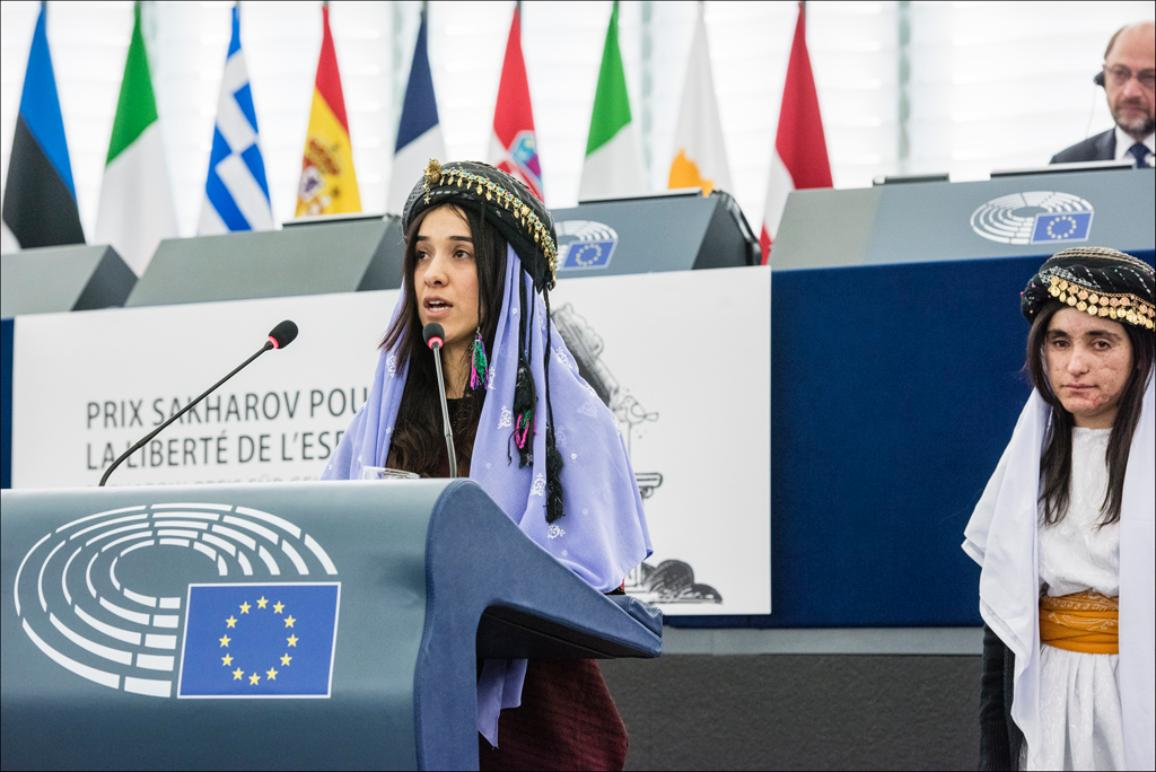 Nadia Murad receiving the European Parliament's Sakharov Prize for Freedom of Thought in Strasbourg