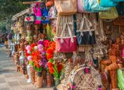Image of colourful market with hand made items in Dhaka, Bangladesh