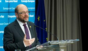 Press Conference of EP President Schultz at the European Council meeting