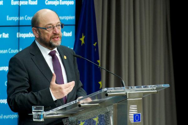 El presidente Martin Schulz en su última conferencia de prensa en el Consejo Europeo