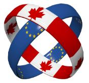 Two rings entangled in each other, one with flag of Canada and the other one with flag of the European Union on it.