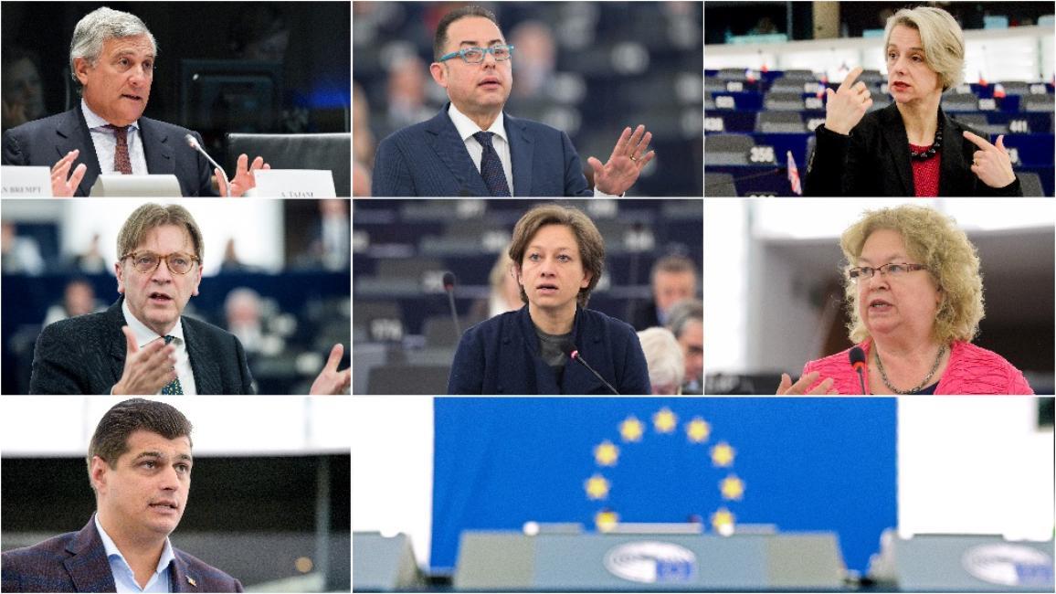 EP Presidents first ballots candidates: Antonio Tajani (EPP, Italy), Gianni Pittella (S&D, Italy), Helga Stevens (ECR, Belgium), Guy Verhofstadt (ALDE, Belgium), Eleonora Forenza (GUE/NGL, Italy), Jean Lambert (Greens/EFA, UK) and Laurenţiu Rebega (ENF, Romania)