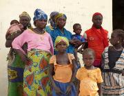 A group of women and children who have returned from Nigeria to Chad due to the violence by Boko Haram.