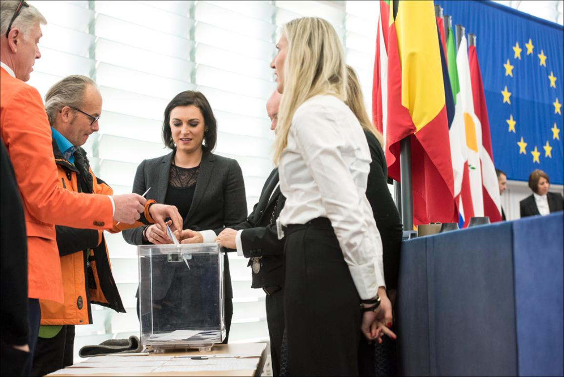 An MEP casts his vote for the elections of European Parliament VPs