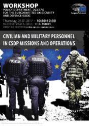 "SEDE workshop ""Civilian and military personnel in CSDP missions and operations"" poster showing policemen and soldiers"