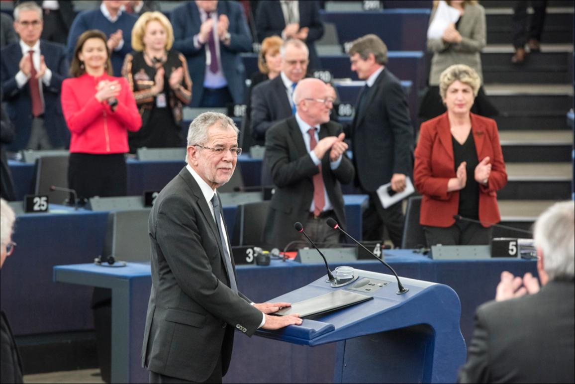 """It goes without saying that we're stronger together than alone"" -Austrian President  Van der Bellen addressing MEPs"