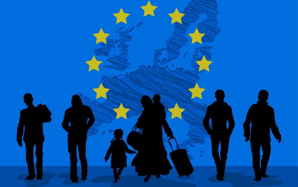 Silhouettes of people walking with luggage on blue background with European flag and map