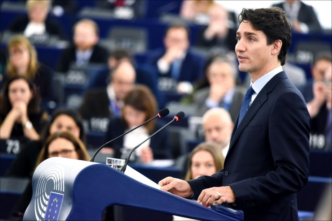 Canadian President Justin Trudeau adresses the MEPs