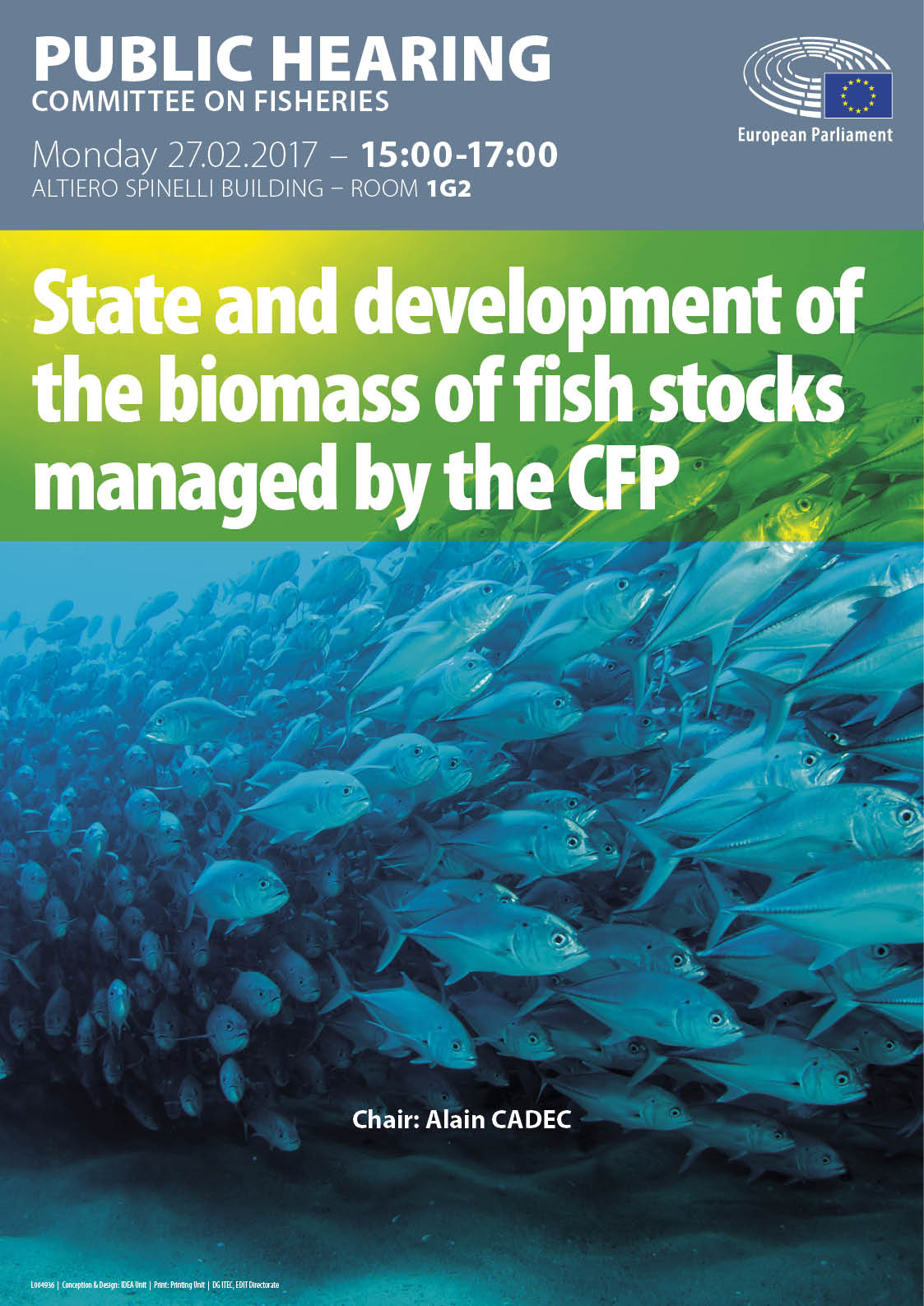 Poster for public hearing on State and development of the biomass of fish stocks managed by the CFP in EN