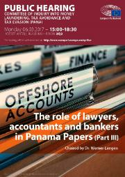 "PANA Committee - Public hearing with intermediaries (Part III) - ""The role of lawyers, accountants and bankers in Panama Papers"""