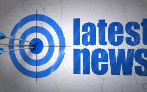 Arrows hitting the center of target, Blue Latest News on wall background