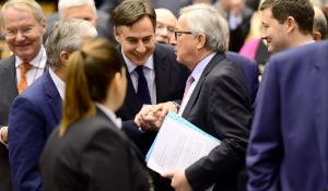 EC President Juncker talking with MEPs before the opening of March plenary session in Brussels