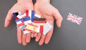 Bandeira de todos os Estados-Membros. A bandeira do Reino Unido encontra-se separada das restantes 27. ©AP Images/European Union-EP