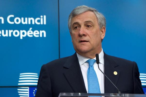 EP president Antonio Tajani Press Conference at the European Summit in Brussels