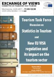 Poster concerning a discussion in TRAN on Statistics in Tourism and New EU Visa regulation. Stacked suitcases
