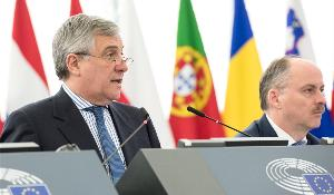 EP President Antonio Tajani pictured during the opening of March plenary session in Strasbourg
