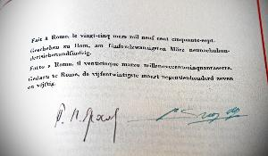 A photo of the Treaty of Rome, signed in Rome on the 25 of March 1957.