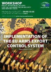 Poster workshop arms export controls - photo of bullets and guns
