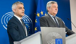 Press statement by EP President Antonio Tajani (R) and London Mayor Sadiq Khan (L)