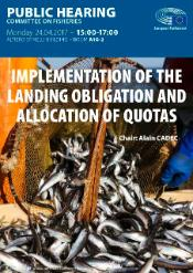 Poster of the public hearing on implementation of the landing obligation and allocation of quotas