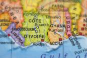 Map image of Cote D'Ivoire and Ghana