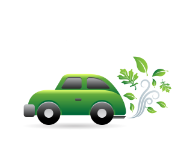 Green car with green leaves emissions