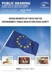 Public hearing poster on EU added value on environment, public hearing and food safety