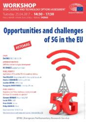 """Poster for STOA event on """"Opportunities and challenges of 5G in the EU"""", on 25 April 2017 at 14:30"""