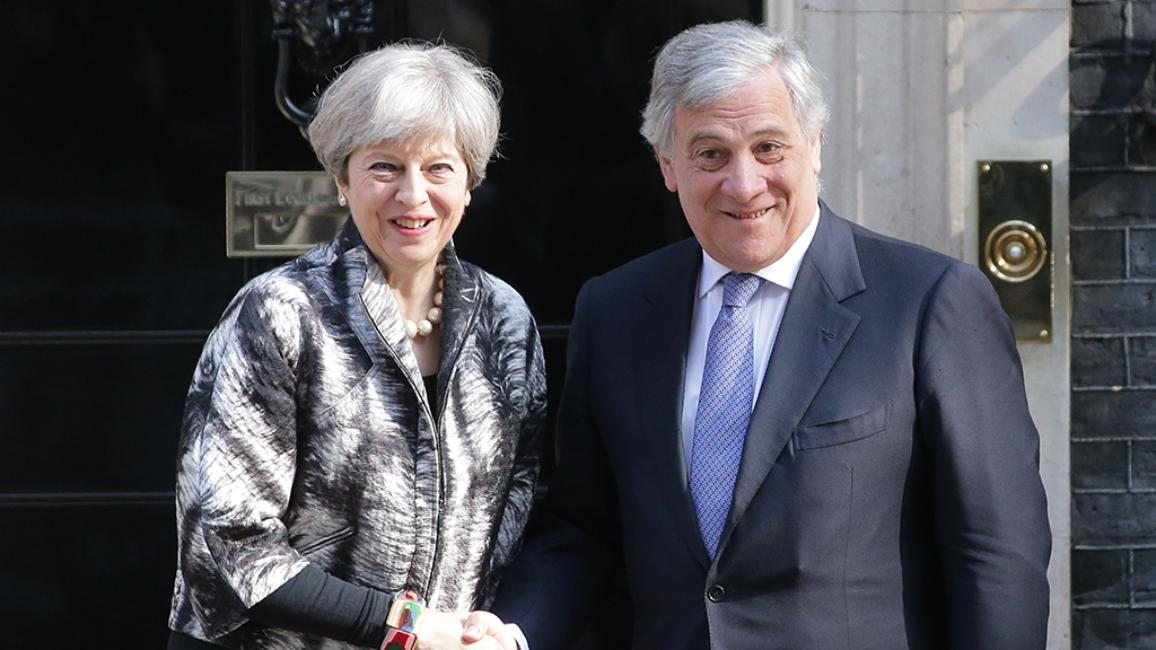 In his first official visit, EU Parliament President Antonio Tajani met with British Prime Minister Theresa May in London to discuss the Brexit conditions set by an overwhelming majority of MEPs earlier this month.