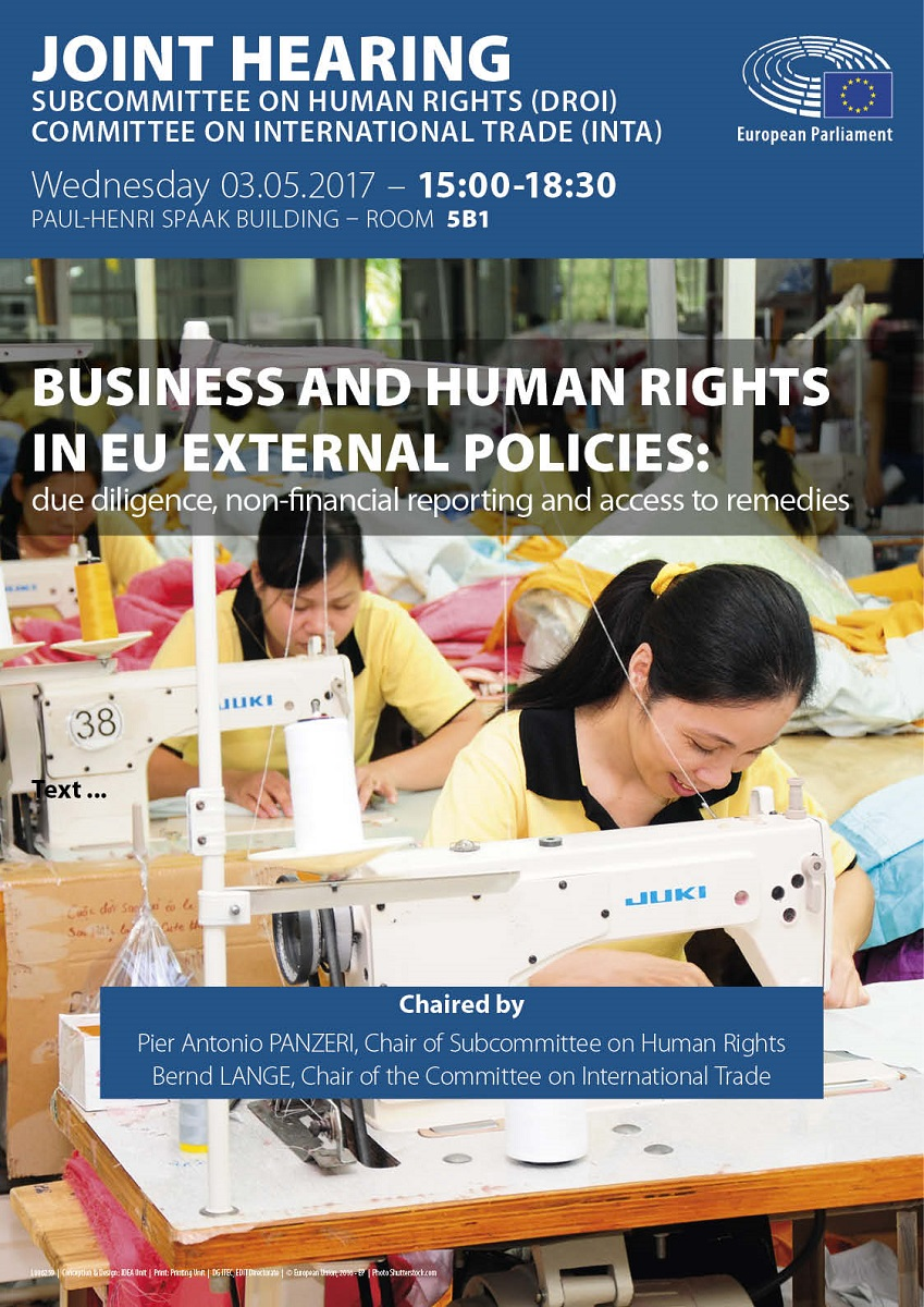Business and human rights in EU external policies: public hearing - poster