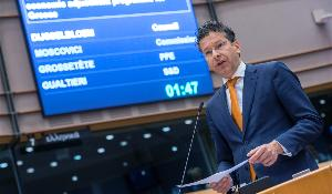Eurogroup President Jeroen Dijsselbloem updating MEPs on Greek bailout