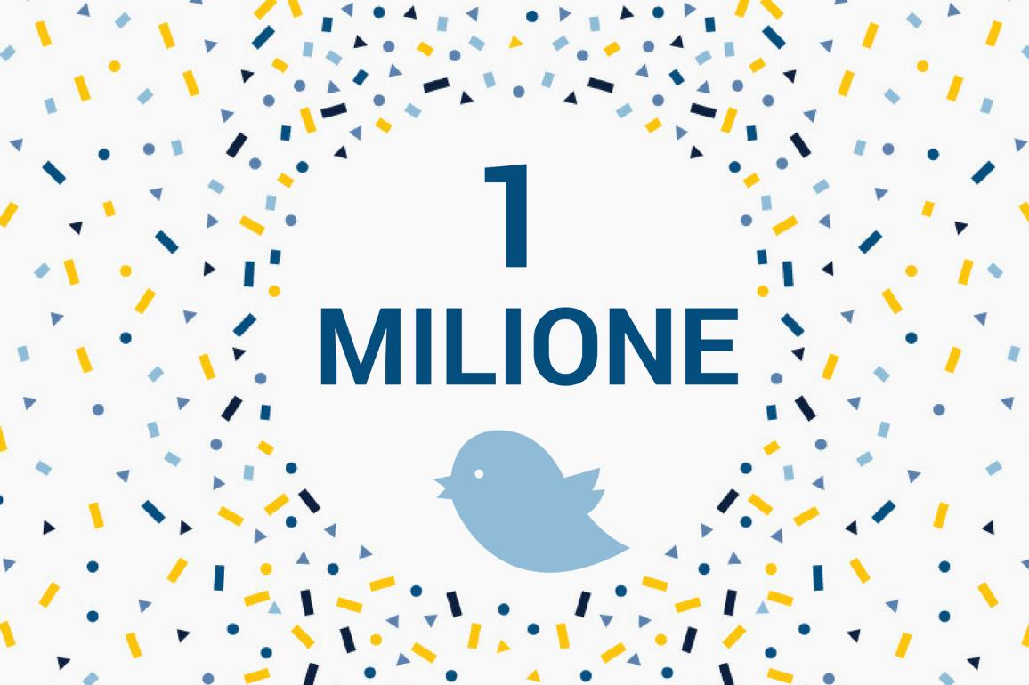 Raggiunto il traguardo del milione di follower su Twitter