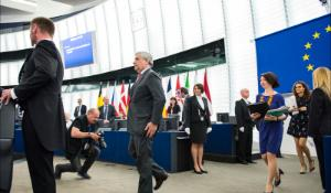 European Parliament President Antonio Tajani walks in the Plenary chamber for the opening of May plenary session in Strasbourg