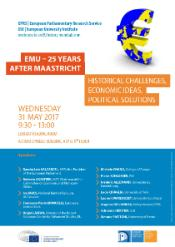 Poster of the EPRS event on EMU 25 years after Maastricht, to be held in the EP Library Reading Room on 31 May 2017, 9.30-13.30