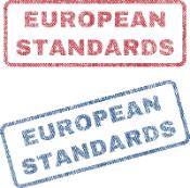 European Standards text textile seal stamp watermarks. Blue, red fabric vectorized texture. Vector caption inside rounded rectangular shape. Rubber sign with fiber textile structure.