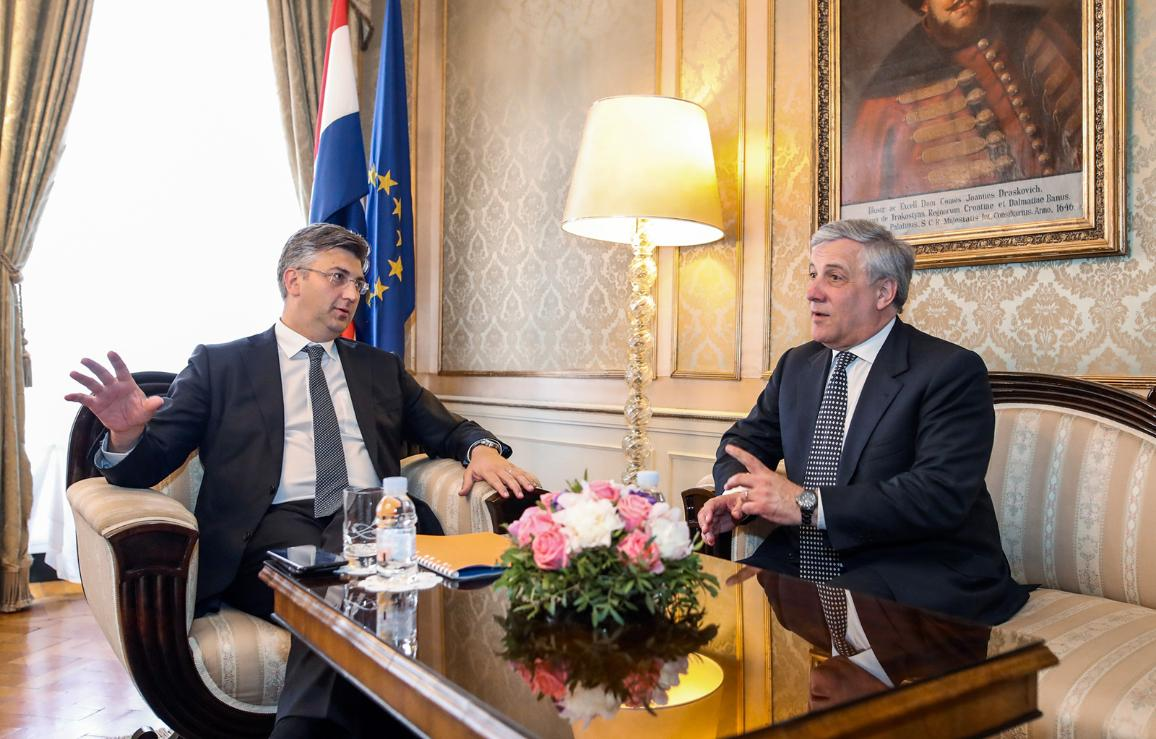 Official visit to Croatia - Andrej PLENKOVIC - Prime Minister of the Republic of Croatia meets with Antonio TAJANI -