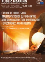 Hearing poster on Control of projects and implementation of EU funds