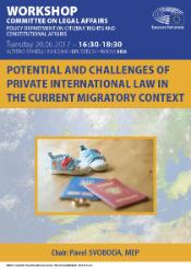 In the upper part of the poster, there is the timing of the hearing and Parliament's logo. Below, there is the title of the hearing and picture of private documents-passports and children's shoes.